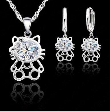exht zilveren hello kitty sieraden set kettin met oorbellen