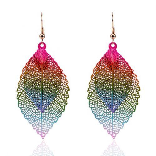 Luxe Bohemian Ibiza Style Leaf Oorbellen regenboog