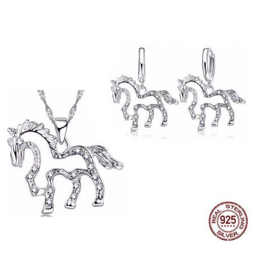 -Sieraden Set Paarden Zirkonia 925 Silver Zilver
