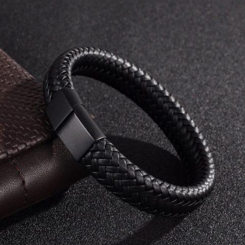 echt leer heren armband mat zwarte sluiting 1