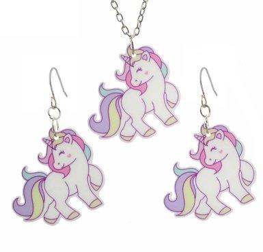unicorn sieraden set met ketting en oorbellen