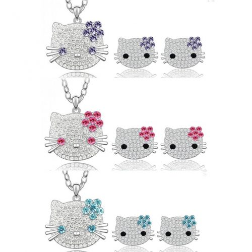 hello kitty oorbellen en ketting