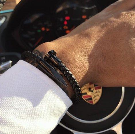 spijker armband man zwart leer 2
