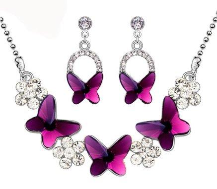 vlinder sieraden set met kristal ketting en oorbeelen