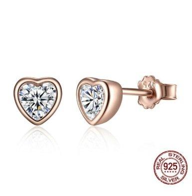 zilveren rose gold hartjes oorbellen met zirkonia