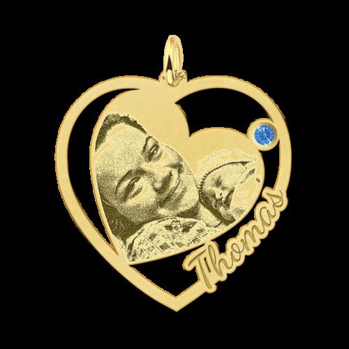 14 karaat gouden gegraveerde fotohanger met naam en geboortesteentje