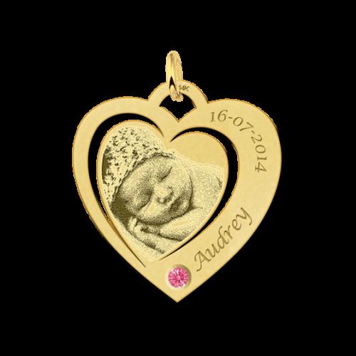 14 karaat gouden gegraveerde hart fotohanger met geboortesteentje