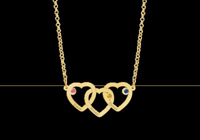 14 karaat gouden hanger met 3 hartjes en geboortesteentjes 1