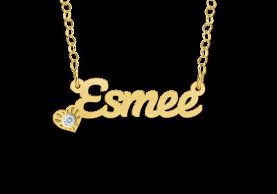 14 karaat gouden naamketting met zirkonia steentje model esmee