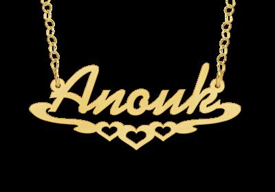 14 karaat gouden naamketting model anouk