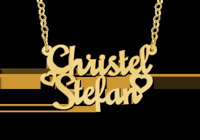 14 karaat gouden naamketting model christel-stefan