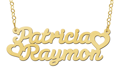 14 karaat gouden naamketting met dubbele naam model patricia raymon