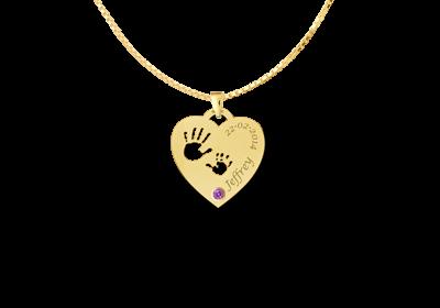14 karaats gouden gegraveerde hart hanger met handjes en geboortesteentje 1
