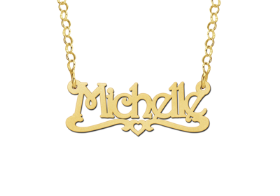 14 karaats gouden kinder naamketting model michelle