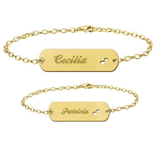 14 karaats gouden moeder dochter armbanden set met hartjes
