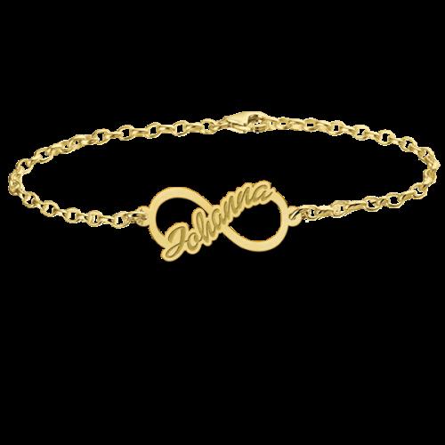 14 karaats gouden naamarmband met infinity teken model johanna