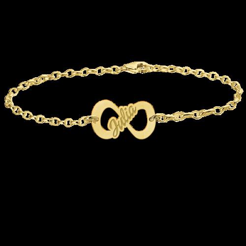 14 karaats gouden naamarmband met infinity teken model julia
