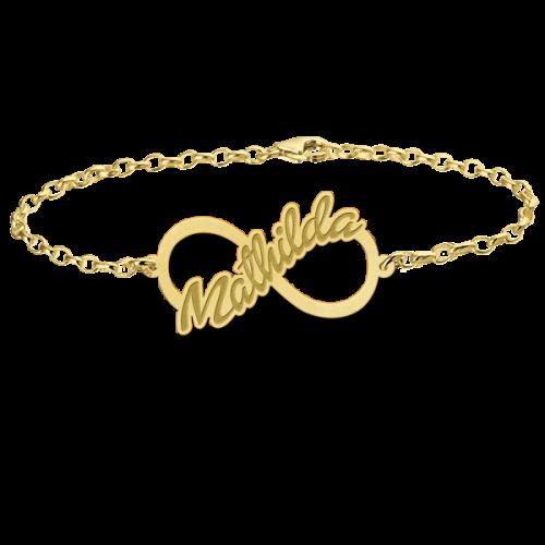 14 karaats gouden naamarmband met infinity teken model mathilda