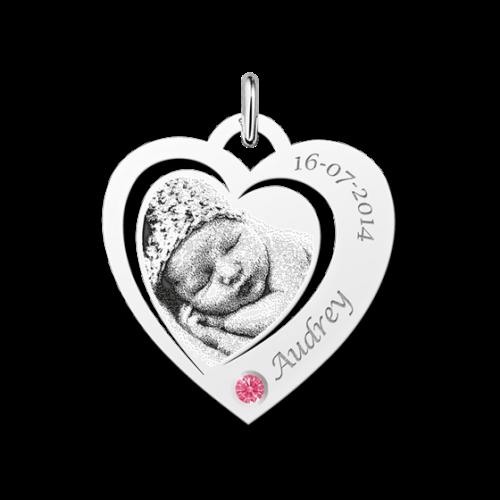 Zilveren gegraveerde hart fotohanger met geboortesteentje