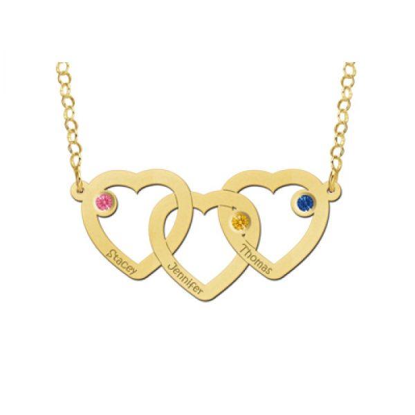 3 gouden hartjes met 3 namen en geboortesteentjes