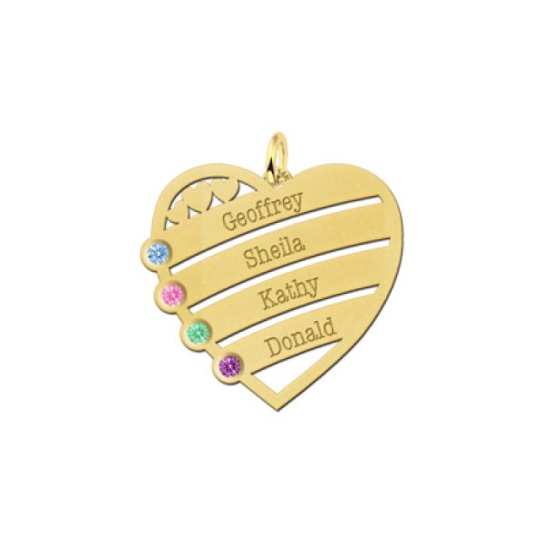 14 karaats gouden gegraveerde hartjes hanger met 4 namen en 4 geboortesteentjes