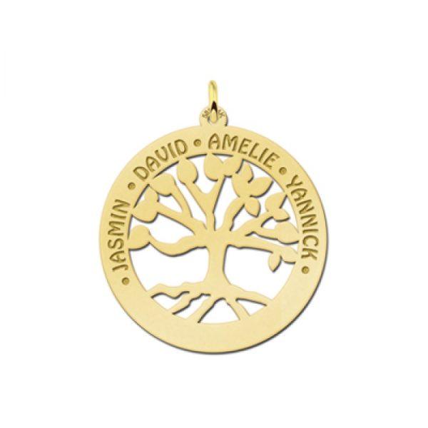gouden levensboom hanger met 1 tot 6 namen