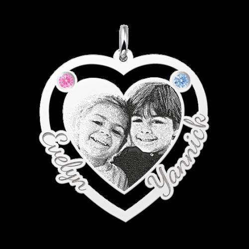 zilveren gegraveerde hartjes fotohanger met 2 geboortesteentjes