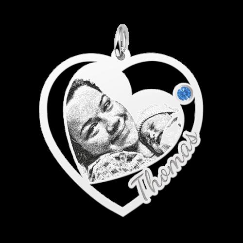 zilveren gegraveerde hartjes fotohanger met geboortesteentje