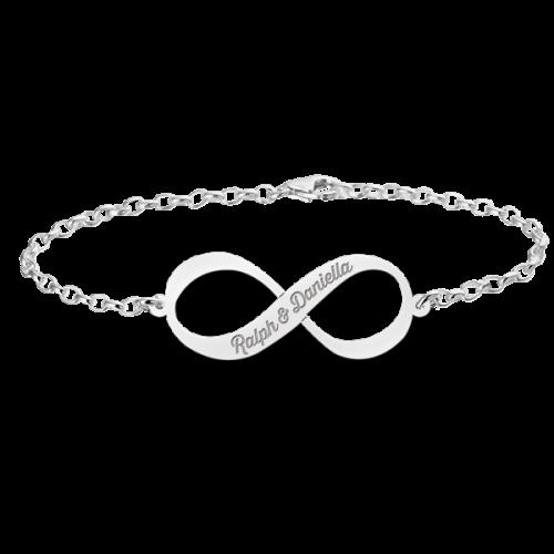 zilveren gegraveerde infinity armband met 2 namen