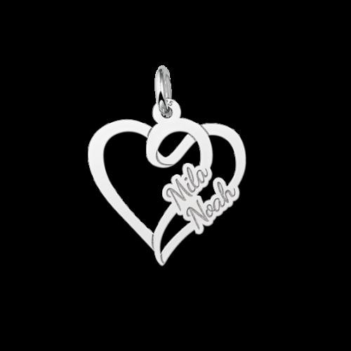 zilveren hartjes hanger met 2 namen