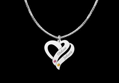 zilveren hartjes hanger met 2 namen en geboortesteentjes 1