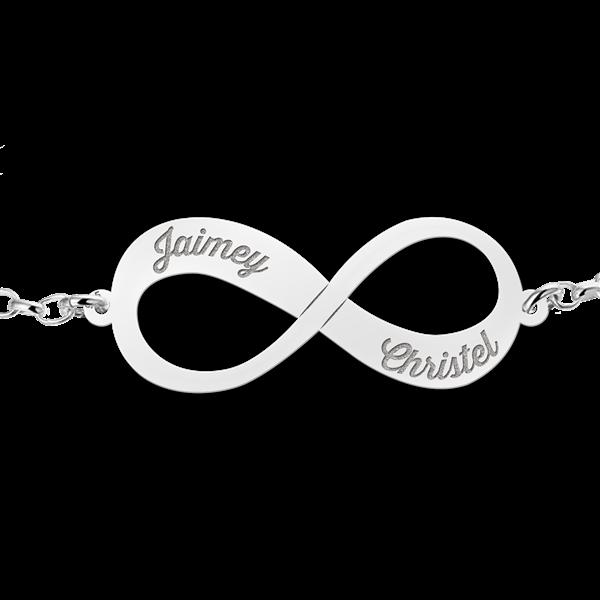 zilveren infinity armband met 2 gegraveerde namen