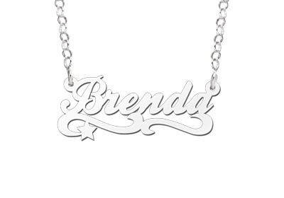 zilveren kinder naamketting model brenda