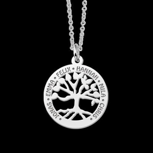 zilveren levensboom hanger met 1 tot 6 namen 1