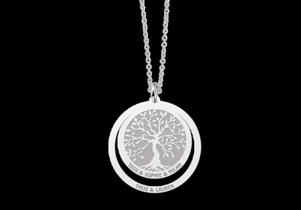zilveren tree of life hanger met 2 teksten 1