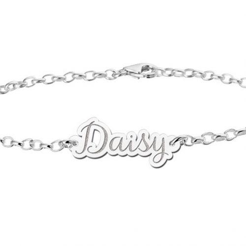 zilveren naamarmband model Daisy