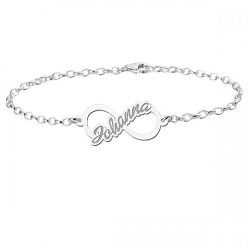 zilveren naamarmband met infinity teken model johanna