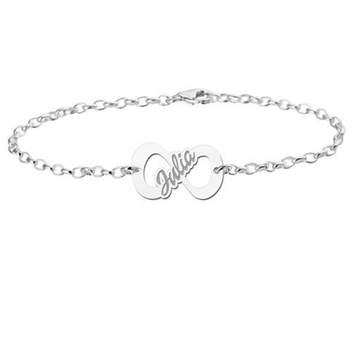 zilveren naamarmband met infinity teken model julia