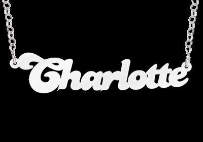 zilveren naamketting model charlotte