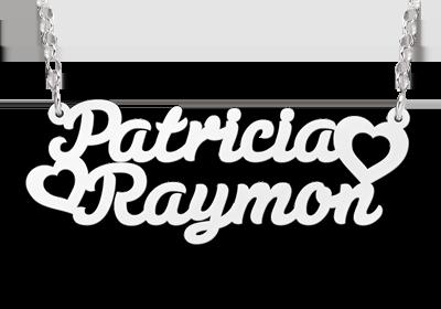 zilveren naamketting met dubbele naam model patricia raymon