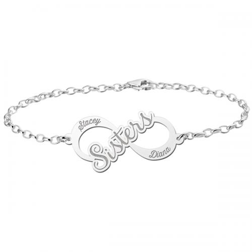 zilveren naamarmband voor zussen