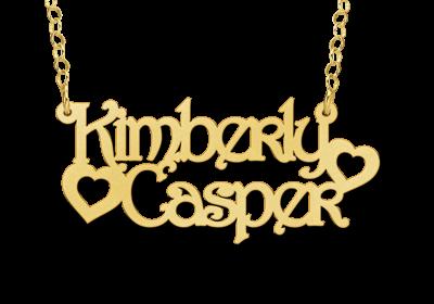 gouden naamketting met 2 namen voorbeeld kimberly casper