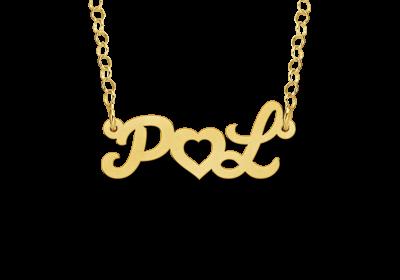 ketting met initialen en hartje goldplated