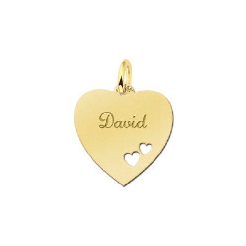 gegraveerde hartjes hanger echt goud