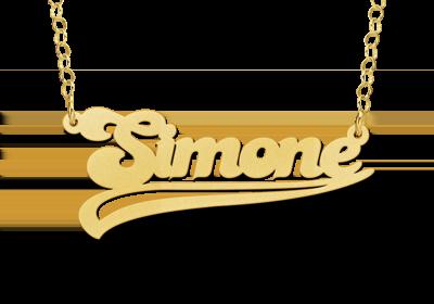 goldplated naamketting met krul voorbeeld simone