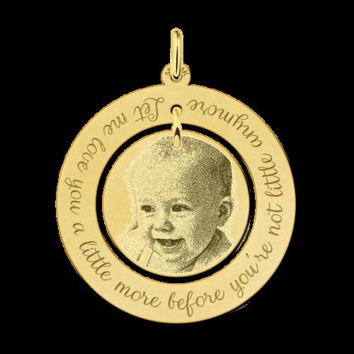 ketting met foto en tekst goud