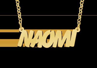gouden naamketting met hoofdletters voorbeeld naomi