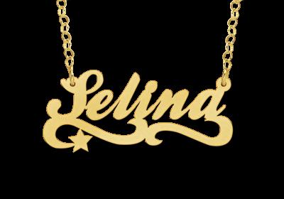 gouden ketting met naam en ster voorbeeld selina