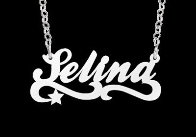 zilveren ketting met naam voorbeeld selina