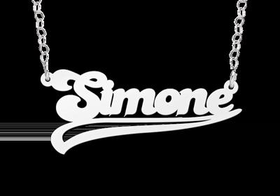 naamketting zilver voorbeeld simone met krul